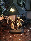 Dutch All Bronze Night Lamp Ca 1910  With Cast Dutch Children