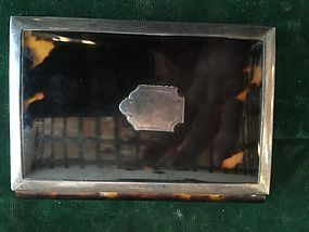 French Hallmarked Silver and Tortoise Shell Card Holder 1920