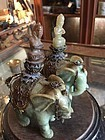 Pr Early 19thc Chinese Carved Jade Buddhas Riding Jade Elephants