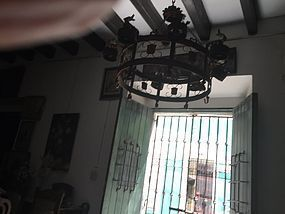 Large Wrought Iron Spanish Chandelier  ca 1920