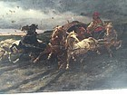 19thc Oil on Canvas Horses and Gypsy Central Europe Sgnd