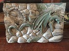 19thc German Carved Wood Bas Relief of Dragon on Panel