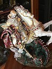 Superb Italian Ceramic St George & Dragon Signed Pattarino