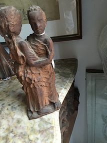 Pr Antique Carved Wood Dancing Damsels