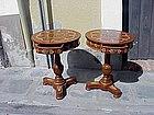 Pr Regency Style Stenciled Round Tables