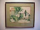 """Watercolor """"Florence""""-American Signed-1909"""