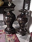 English urns, (pair) 19th century Black lacquer