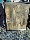 French Portrait  Painting   Wasted Lady 1961 Paris Sgnd