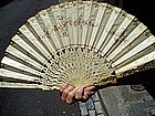 Spanish Embroidered Silk Ivory Lady's Fan 19thc