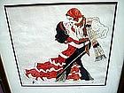 Art Deco Watercolor Pirate Tango 1930s  signed