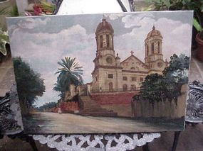 English Colonial  Painting ca1870 Antigua West Indies