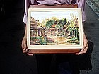 American Watercolor of Japanese Temple Sgnd Dtd