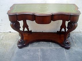 English Regency Console Mahogany Dolphins 1850
