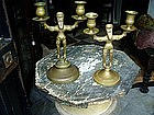 Two Russian Figural  Brass Candlesticks 19thc