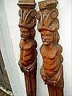Pr Bas Relief Carved  Wood Caryatids 19thc