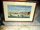 18thc English Colored Engraving Marine Deptford Port