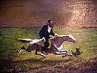 Painting O/C 19c  Hassidic Jew at Full Gallop