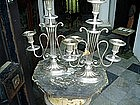 Pr Regency English Silver on Brass Candelabra 1840s