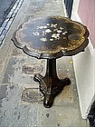 English Papier Mache Tilt-Top Table Inlaid MOP 1880s