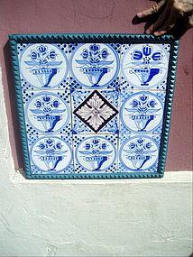 9 Delft Tiles 18tc Mounted  Floral Motif