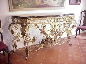 Wrought Iron Console-Marble Top ca 1900