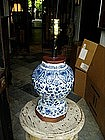 17thc Dutch Delft  Vase Converted to Lamp