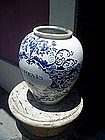 18thc Delft Tobacco Jar  Marked With Bells