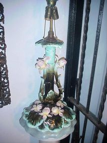 French Majolica Lamp-Nouveau-ca 1900