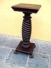 Lge American Twisted Mahogany Pedestal 1880s Victorian