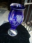 Bohemian Glass Colbalt Blue Cut to Clear Candle Lamp