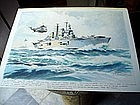 Watercolor English Aircraft  Carrier Signed 1980