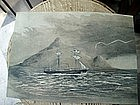 English Sail/Steam Ship Watercolor ca 1871