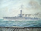British Navy Ship Watercolor 1926  HMS Carysfort