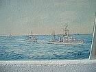 British Destroyer Flotilla 1936 Signed Watercolor Navy
