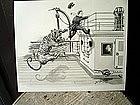 Drawing Cartoon British Navy Visit to HMS Tiger 1935