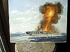 Oil Ptg of American Aircraft Carrier In Distress WWII