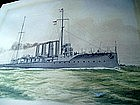 Watercolor British Ship HMS BOADICEA 1908 Sgnd