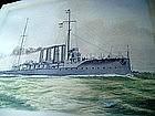 Watercolor British Ship HMS BOADICEA 1908 Sgnd
