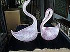Pr Italian Moreno Venetian Glass Swans ca 1950s