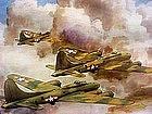 Hand-colored Litho Aviation signd Lemon WWII