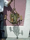 Spanish Revival Art Deco Bronze Polychrome Chandelier