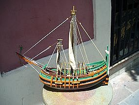Carved Model Ship Ca 1930s  Unusual