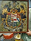 18thc English Coat of Arms Painted on Silk Framed