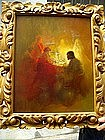"""American Painting """"Seance"""" Sgnd Listed Sales Ca 1950"""