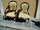 Pr Victorian Needlepoint Chairs American 1870s