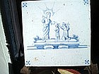 18thc Dutch delft Tile Blue White Biblical