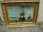 19thc French  Port  Nazaire Marine Painting Sgnd -1865
