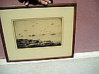 Early American Aircraft Carrier Bi Planes Etching Sgnd