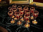 12 Bohemian Cut Ruby Gilt Glass Cordials-19c