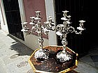 Pr Large 19thc Dutch Silver Candelabra  Marked